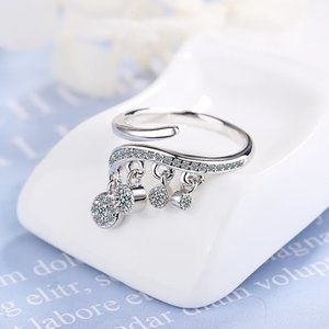 NEW Sterling Silver Diamond Drop Adjustable Ring